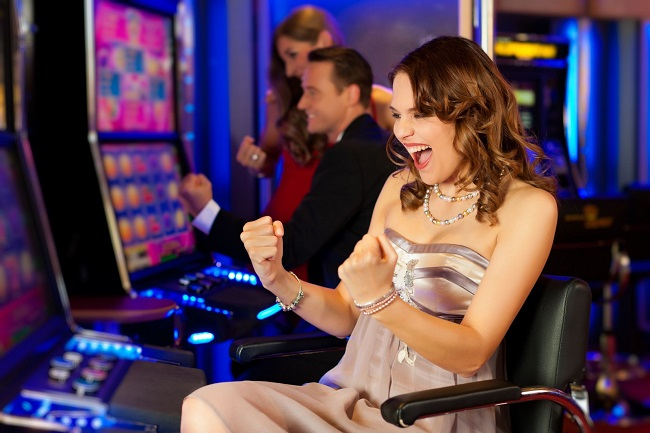 casino, slot, machines, girl